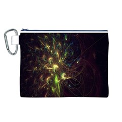 Fractal Flame Light Energy Canvas Cosmetic Bag (L)