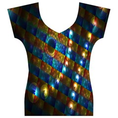 Fractal Fractal Art Digital Art  Women s V-Neck Cap Sleeve Top