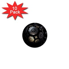 Fractal Sphere Steel 3d Structures  1  Mini Buttons (10 pack)