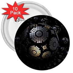 Fractal Sphere Steel 3d Structures  3  Buttons (10 pack)