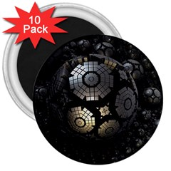 Fractal Sphere Steel 3d Structures  3  Magnets (10 pack)