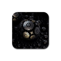 Fractal Sphere Steel 3d Structures  Rubber Square Coaster (4 pack)
