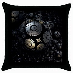 Fractal Sphere Steel 3d Structures  Throw Pillow Case (Black)