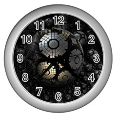 Fractal Sphere Steel 3d Structures  Wall Clocks (Silver)