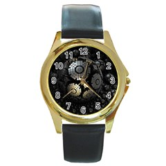 Fractal Sphere Steel 3d Structures  Round Gold Metal Watch