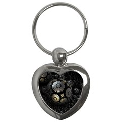 Fractal Sphere Steel 3d Structures  Key Chains (Heart)