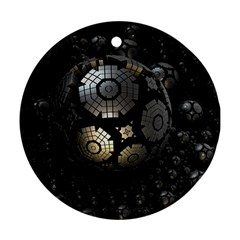 Fractal Sphere Steel 3d Structures  Round Ornament (Two Sides)