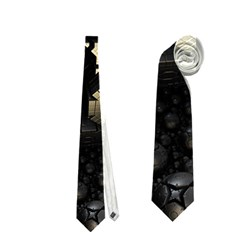 Fractal Sphere Steel 3d Structures  Neckties (Two Side)
