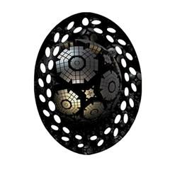 Fractal Sphere Steel 3d Structures  Oval Filigree Ornament (2-Side)