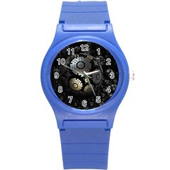 Fractal Sphere Steel 3d Structures  Round Plastic Sport Watch (S)