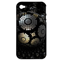 Fractal Sphere Steel 3d Structures  Apple iPhone 4/4S Hardshell Case (PC+Silicone)