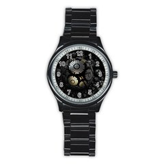 Fractal Sphere Steel 3d Structures  Stainless Steel Round Watch