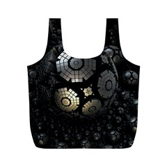 Fractal Sphere Steel 3d Structures  Full Print Recycle Bags (M)