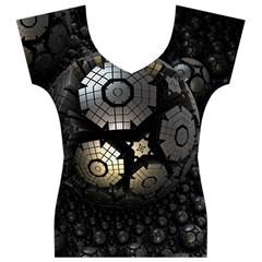 Fractal Sphere Steel 3d Structures  Women s V-Neck Cap Sleeve Top