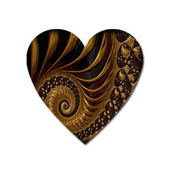 Fractal Spiral Endless Mathematics Heart Magnet