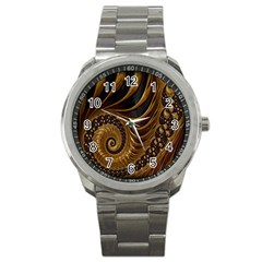 Fractal Spiral Endless Mathematics Sport Metal Watch