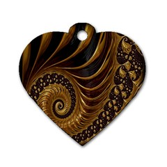 Fractal Spiral Endless Mathematics Dog Tag Heart (Two Sides)