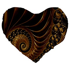 Fractal Spiral Endless Mathematics Large 19  Premium Flano Heart Shape Cushions