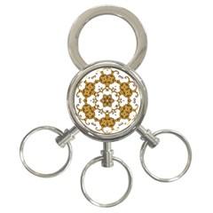 Fractal Tile Construction Design 3-Ring Key Chains