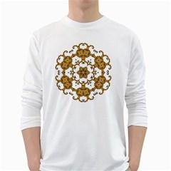 Fractal Tile Construction Design White Long Sleeve T-Shirts