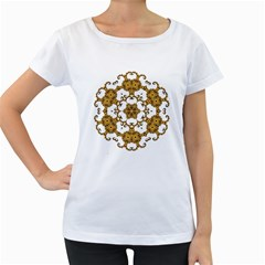 Fractal Tile Construction Design Women s Loose-Fit T-Shirt (White)
