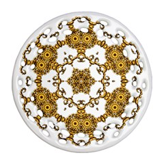 Fractal Tile Construction Design Round Filigree Ornament (2Side)