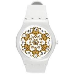 Fractal Tile Construction Design Round Plastic Sport Watch (M)