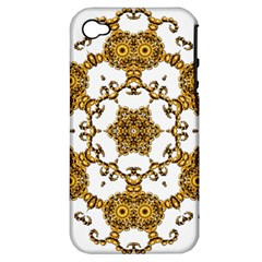 Fractal Tile Construction Design Apple iPhone 4/4S Hardshell Case (PC+Silicone)