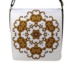 Fractal Tile Construction Design Flap Messenger Bag (L)