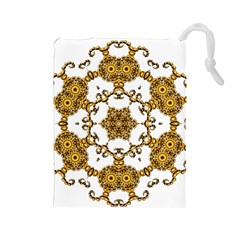 Fractal Tile Construction Design Drawstring Pouches (Large)