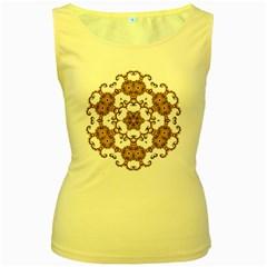 Fractal Tile Construction Design Women s Yellow Tank Top