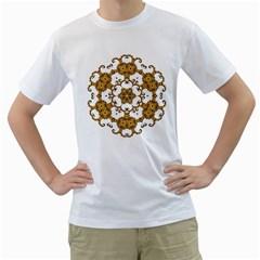 Fractal Tile Construction Design Men s T-Shirt (White) (Two Sided)