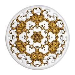 Fractal Tile Construction Design Round Filigree Ornament (2Side)