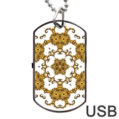 Fractal Tile Construction Design Dog Tag USB Flash (Two Sides)