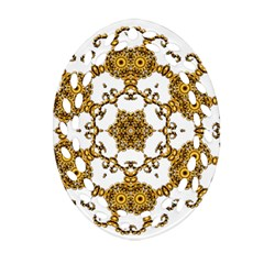 Fractal Tile Construction Design Oval Filigree Ornament (2-Side)