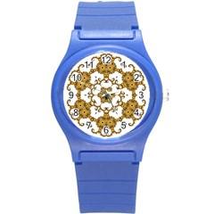Fractal Tile Construction Design Round Plastic Sport Watch (S)