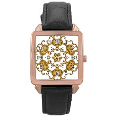 Fractal Tile Construction Design Rose Gold Leather Watch
