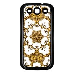 Fractal Tile Construction Design Samsung Galaxy S3 Back Case (Black)
