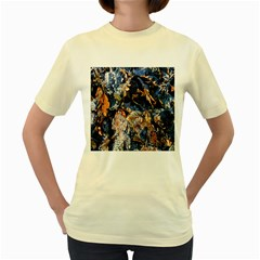 Frost Leaves Winter Park Morning Women s Yellow T-Shirt
