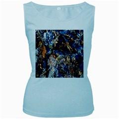Frost Leaves Winter Park Morning Women s Baby Blue Tank Top