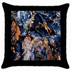 Frost Leaves Winter Park Morning Throw Pillow Case (Black)