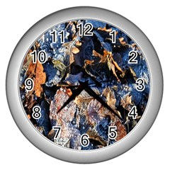 Frost Leaves Winter Park Morning Wall Clocks (Silver)
