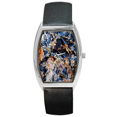 Frost Leaves Winter Park Morning Barrel Style Metal Watch