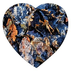 Frost Leaves Winter Park Morning Jigsaw Puzzle (Heart)