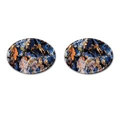 Frost Leaves Winter Park Morning Cufflinks (Oval)