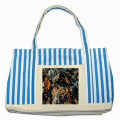 Frost Leaves Winter Park Morning Striped Blue Tote Bag