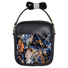 Frost Leaves Winter Park Morning Girls Sling Bags