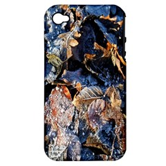 Frost Leaves Winter Park Morning Apple iPhone 4/4S Hardshell Case (PC+Silicone)