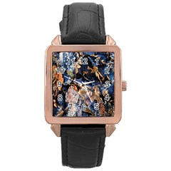Frost Leaves Winter Park Morning Rose Gold Leather Watch