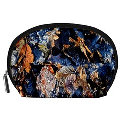 Frost Leaves Winter Park Morning Accessory Pouches (Large)